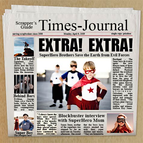 Photoshop elements tutorial newspaper for Create your own newspaper template