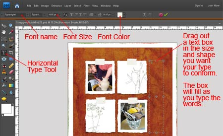 Photoshop elements tutorial justified text click and drag out a text box the size and shape youd like the text to follow this is an important step because photoshop elements uses the box boundaries ccuart Image collections